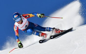 US skier Mikaela Shiffrin competes in the women's giant slalom race at the 2017 FIS Alpine World Ski Championships in St Moritz on February 16, 2017. / AFP PHOTO / Fabrice COFFRINIFABRICE COFFRINI/AFP/Getty Images